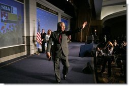 President George W. Bush waves after addressing the National Small Business Week Conference in Washington, D.C., Wednesday, April 27, 2005.  White House photo by Paul Morse