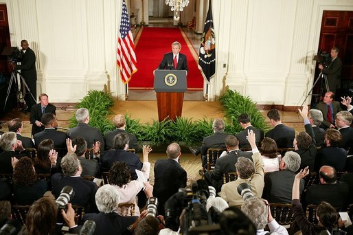 "President George W. Bush holds a press conference in the East Room Thursday, April 28, 2005. ""Social Security has provided a safety net that has provided dignity and peace of mind for millions of Americans in their retirement,"" said President Bush as he discussed many topics with reporters. ""Yet there's a hole in the safety net because Congresses have made promises it cannot keep for a younger generation."" White House photo by Paul Morse"