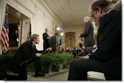 President George W. Bush holds a press conference in the East Room Thursday, April 28, 2005.  White House photo by Eric Draper