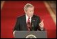 "President George W. Bush discussed many topics such as energy consumption and Social Security during a press conference in the East Room Thursday, April 28, 2005. ""Today there are about 40 million retirees receiving benefits; by the time all the baby boomers have retired, there will be more than 72 million retirees drawing Social Security benefits,"" said the President. White House photo by Paul Morse"