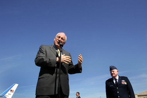 Vice President Dick Cheney, accompanied by General Mark Stogsdill, commander of the 94th Airlift Wing, addresses U.S. troops at Dobbins Air Force Base in Marietta, Ga., Monday, May 2, 2005. In his remarks, the Vice President thanked the troops and their families for their service.White House photo by David Bohrer