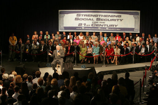 Vice President Dick Cheney discusses Social Security during a Town Hall meeting at Campbell High School in Smyrna, Ga., Monday, May 2, 2005.White House photo by David Bohrer