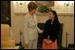"Laura Bush meets with 17-year-old Farah Ahmedi, author of the book, ""The Story of My Life: An Afghan Girl on the Other Side of the Sky,"" in the Diplomatic Reception Room at the White House May 5, 2005. In her book, Farah, who now lives near Chicago, recounts her life in war-time Afghanistan. White House photo by Krisanne Johnson"