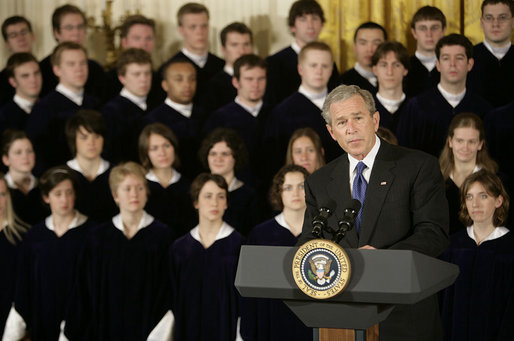 "President George W. Bush delivers remarks during the National Day of Prayer commemoration in the East Room Thursday, May 5, 2005. ""Today, prayer continues to play an important part in the personal lives of many Americans,"" said the President. ""Every day, millions of us turn to the Almighty in reverence and humility. Every day, our churches and synagogues and mosques and temples are filled with men and women who pray to our Maker."" White House photo by Eric Draper"