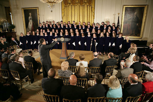 The St. Olaf Choir, led by Anton Armstrong, performs during the commemoration of the National Day of Prayer commemoration in the East Room Thursday, May 5, 2005. White House photo by Eric Draper