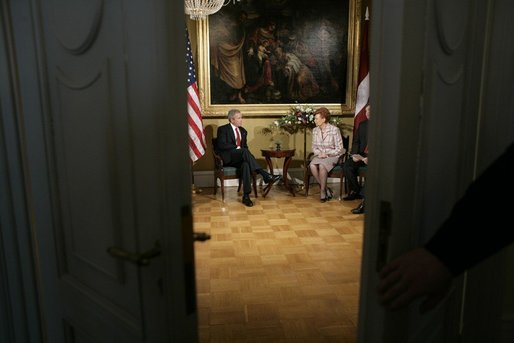 President George W. Bush and Latvia's President Vaira Vike-Freiberga meet at Riga Castle in Riga, Latvia, Saturday, May 7, 2005. White House photo by Eric Draper