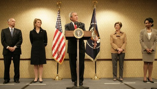 Accompanied by Laura Bush and Secretary of State Condoleezza Rice, President George W. Bush addresses U.S. Embassy families and staff in Latvia Saturday, May 7, 2005. Pictured at left are U.S. Ambassador to Latvia, Catherin T. Bailey, and her husband, Irving Bailey II. White House photo by Eric Draper