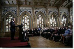 "Delivering an address during the 60th anniversary week of WWII, President George W. Bush tells the story of Latvian sailors on eight freighters who disobeyed orders from a puppet government and remained at sea to help the U.S. Merchant Marines during the war at The Small Guild Hall in Riga, Latvia, Saturday, May 7, 2005. ""By the end of the war, six of the Latvian ships had been sunk, and more than half the sailors had been lost,"" said President Bush. ""Nearly all of the survivors settled in America, and became citizens we were proud to call our own.""  White House photo by Krisanne Johnson"