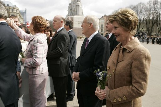 Hosted by President Vaira Vike-Freiberga, Laura Bush tours the city of Riga, Latvia, Saturday, May 7, 2005. White House photo by Krisanne Johnson