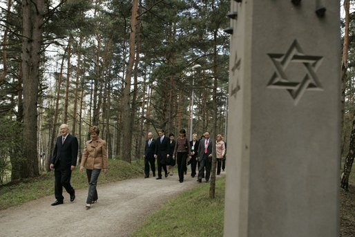 Laura Bush visits the Rumbula Holocaust Memorial in Riga, Latvia, Saturday, May 7, 2005. White House photo by Krisanne Johnson