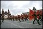 Russian solders march in a military procession commemorating the 60th anniversary of the end of World War II in Moscow's Red Square Monday, May 9, 2005. White House photo by Eric Draper