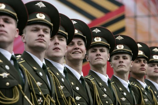 Russian soldiers march through Moscow's Red Square, Monday, May 9, 2005, during a parade commemorating the 60th Anniversary of the end of World War II. White House photo by Eric Draper
