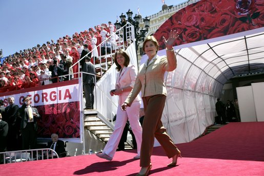 Laura Bush and Sandra Roelofs, wife of Georgian President Mikhail Saakashvili, are introduced before President Bush addresses a crowd of thousands at Freedom Square in Tbilisi, Georgia, Tuesday, May 10, 2005. White House photo by Eric Draper