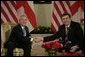 President George W. Bush and Georgian President Mikhail Saakashvili meet in Tbilisi Tuesday, May 10, 2005. White House photo by Eric Draper