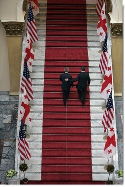 President George W. Bush and Georgian President Mikhail Saakashvili leave a press availability Tuesday, May 10, 2005, at the Georgian Parliament in Tbilisi.  White House photo by Eric Draper