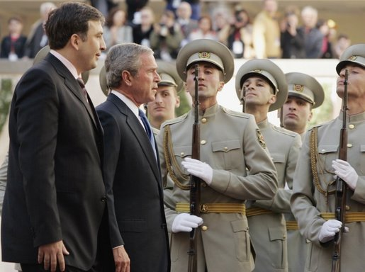 Troops stand at attention as President George W. Bush and Georgian President Mikhail Saakashvili review the troops during an arrival ceremony in Tiblisi Tuesday, May 10, 2005. White House photo by Paul Morse