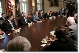 "President George W. Bush discusses his recent trip to Latvia, the Netherlands, Russia, and Georgia to members of Congress Wednesday, May 11, 2005, during a gathering in the Cabinet Room of the White House. Said the President, ""It was a great trip, and it's such an honor to represent the United States.""  White House photo by Paul Morse"