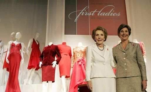 Laura Bush and Nancy Reagan appear at the opening Thursday, May 12, 2005, of The Heart Truth's First Ladies Red Dress Collection exhibit at the John F. Kennedy Center for the Performing Arts in Washington D.C. White House photo by Krisanne Johnson