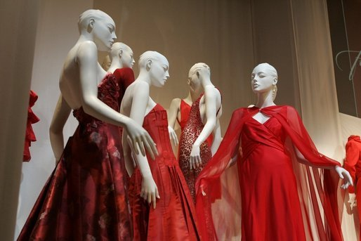 "These ""Fashion Week 2005"" dresses are displayed as part of the ""2005 First Ladies Red Dress Collection"" exhibit, scheduled to run through May 30 at The John F. Kennedy Center for the Performing Arts. White House photo by Krisanne Johnson"