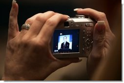 President George W. Bush is shown through a camera's display Friday, May 13, 2005, as he addresses the National Association of Realtors at the Marriott Wardman Park Hotel in Washington D.C.  White House photo by Paul Morse