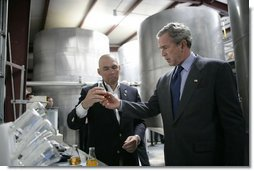 President George W. Bush tours the Virginia Biodiesel Refinery in West Point, Va., Monday, May 16, 2005. White House photo by Eric Draper