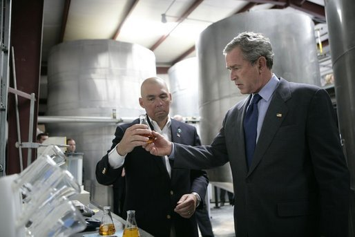 President George W. Bush tours the Virginia Biodiesel Refinery in West Point, Va., Monday, May 16, 2005.White House photo by Eric Draper