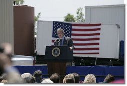 President George W. Bush delivers remarks during a visit to West Point, Va., Monday, May 16, 2005. White House photo by Eric Draper