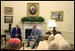 President George W. Bush meets with Egypt's Prime Minister Ahmed Nazif in the Oval Office Wednesday, May 18, 2005. White House photo by David Bohrer