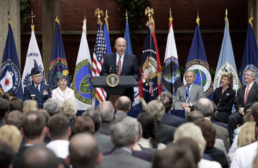 Ambassador John Negroponte speaks after being sworn in as the Director of National Intelligence in a ceremony at the New Executive Office Building Wednesday, May 18, 2005. White House photo by Eric Draper