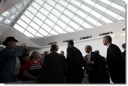 President George W. Bush meets audience members after speaking about Strengthening Social Security at the Milwaukee Art Museum in Milwaukee, Wis., Thursday, May 19, 2005. White House photo by Paul Morse
