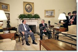 President George W. Bush and Prime Minister Kostas Karamanlis of Greece meet with the press in the Oval Office Friday, May 20, 2005.  White House photo by Eric Draper