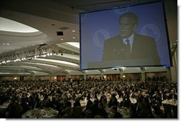 "President George W. Bush delivers remarks at the National Catholic Prayer Breakfast in Washington, D.C., Friday, May 20, 2005. ""This morning we also reaffirm that freedom rests on the self-evident truths about human dignity,"" said the President. ""Pope Benedict XVI recently warned that when we forget these truths, we risk sliding into a dictatorship of relativism where we can no longer defend our values."" White House photo by Eric Draper"
