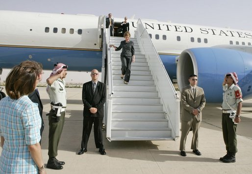 Laura Bush arrives at Queen Alia airport in Amman, Jordan May 20, 2005, beginning a five-day tour of Jordan, Israel and Egypt. Mrs. Bush traveled to Jordan to address the World Economic Forum at the Dead Sea May 21. White House photo by Krisanne Johnson