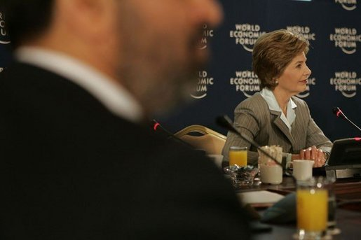 Laura Bush participates in a roundtable discussion with Arab youth after speaking at the World Economic Forum at the Dead Sea in Jordan, Saturday, May 21, 2005. White House photo by Krisanne Johnson