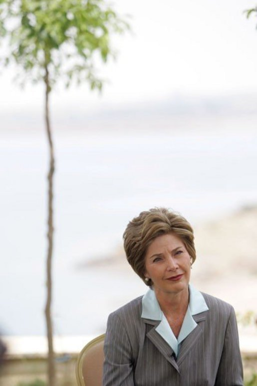 Laura Bush participates in an interview with Neda Ramahi of Jordanian television and radio at the Dead Sea in Jordan Saturday, May 21, 2005. White House photo by Krisanne Johnson