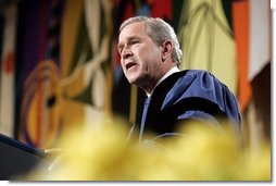 President George W. Bush gives a commencement address to the students and faculty of Calvin College in Grand Rapids, Michigan on Saturday May 21. White House photo by Paul Morse