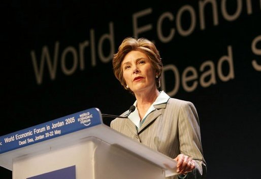 Laura Bush talks at the World Economic Forum at the Dead Sea in Jordan Saturday, May 21, 2005. White House photo by Krisanne Johnson