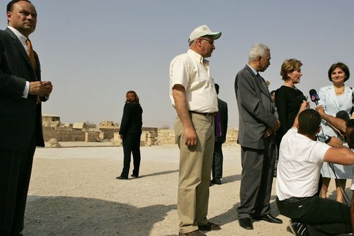 Laura Bush addresses the press during her tour of Hisham's Palace in Jericho, Sunday, May 22, 2005. Mrs. Bush toured the eighth century Islamic palace and viewed mosaic restoration projects during her visit. White House photo by Krisanne Johnson