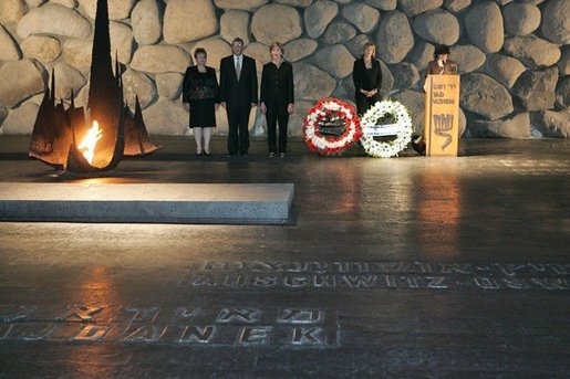 Laura Bush lays a wreath at Yad Vashem's Hall of Remembrance after touring the Holocaust museum in Jerusalem, Sunday, May 22, 2005. White House photo by Krisanne Johnson