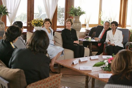 Laura Bush talks with Palestinian women about women's rights at the Jericho Intercontinental Hotel in Jericho, Sunday, May 22, 2005. White House photo by Krisanne Johnson