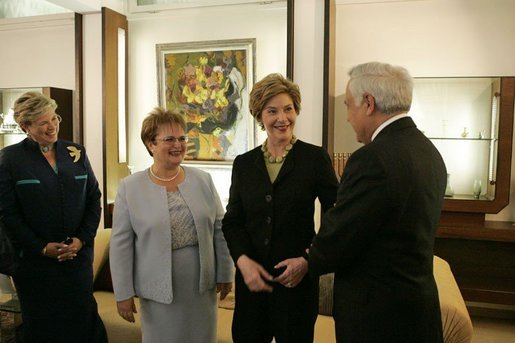 Laura Bush talks with, from left, Sheila Kurtzer, wife of U.S. Ambassador to Israel Daniel Kurtzer, Gila Katsav, wife of the Israeli president, and Israeli President Moshe Katsav at the president's residence in Jerusalem, Sunday, May 22, 2005. White House photo by Krisanne Johnson