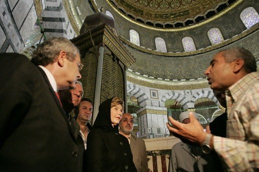 Laura Bush takes a tour lead by Adnan Husseini inside the Muslim holy shrine the Dome of the Rock in the Muslim Quarter of Jerusalem's Old City, May 22, 2005. White House photo by Krisanne Johnson