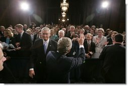 President George W. Bush waves to the audience during the swearing-in ceremony of Steve Johnson as the EPA Administrator in Washington, D.C., Monday, May 23, 2005.  White House photo by Paul Morse