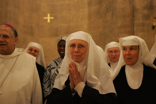 Benedictine nuns of the Church of the Resurrection at Abu Ghosh sing Psalm 150 in Hebrew during Laura Bush's tour of monastery in Abu Ghosh Israel, Monday, May 23, 2005. White House photo by Krisanne Johnson