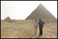 Laura Bush tours the Giza Pyramids with Dr. Zahi Hawass, secretary general of the Supreme Council of Antiquities, during her visit to Cairo, Egypt, Monday, May 23, 2005. White House photo by Krisanne Johnson