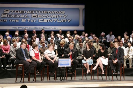 President George W. Bush leads a conversation about strengthening Social Security at Greece Athena Middle and High School in Greece, N.Y., Tuesday, May 24, 2005. White House photo by Paul Morse