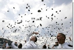 U.S. Naval Academy Midshipmen celebrate graduation in Annapolis, Md., Friday, May 27, 2005. President George W. Bush addressed the Naval Academy graduates during the ceremony.  White House photo by Paul Morse