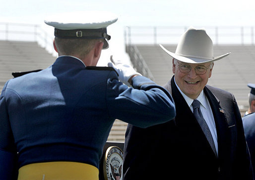Vice President Dick Cheney is saluted before shaking hands with one the 906 newly-commissioned officers of the U.S. Air Force during a graduation ceremony at the Air Force Academy in Colorado on Wednesday, June 1, 2005. White House photo by David Bohrer