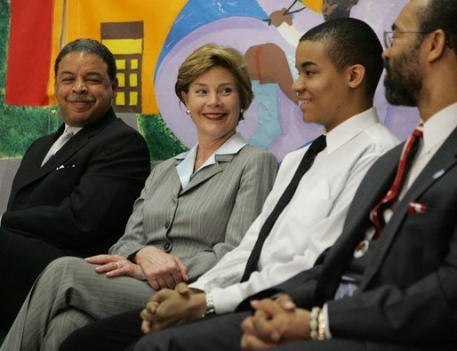 Laura Bush attends the Laura Bush Foundation for America's Libraries, June 2, 2005, at Austin Community Academy High School, Chicago, Illinois. White House photo by Krisanne Johnson
