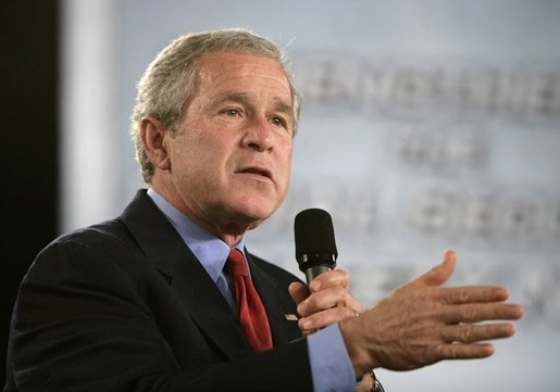 President George W. Bush makes a point as he addresses a crowd of more than 1,000 during a Conversation on Strengthening Social Security at the Hopkinsville Christian County Conference and Convention Center in Hopkinsville, Ky., Thursday, June 2, 2005. White House photo by Eric Draper
